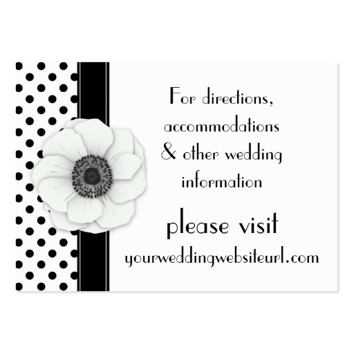 Anemone Black White Polka Dots Wedding Website Business Card Templates