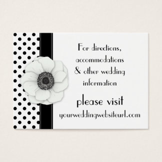 Anemone Black White Polka Dots Wedding Website Business Card