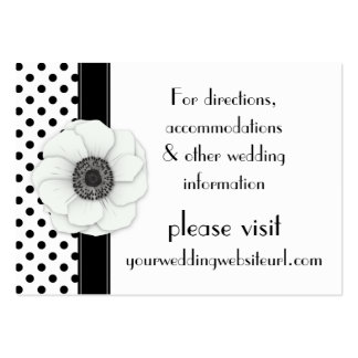 Anemone Black White Polka Dots Wedding Website Large Business Card