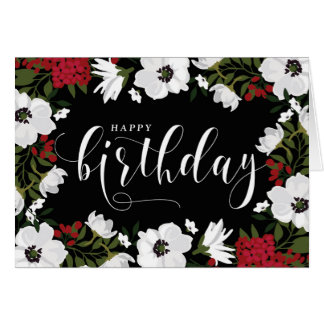 Anemone Blooms   White & Red Happy Birthday Card
