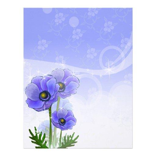 Anemone Blue Linen Stationery Customised Letterhead