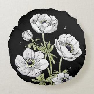 Anemone botanical flower round pillow