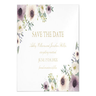Anemone Bouquet Magnetic Save the Date Magnetic Card