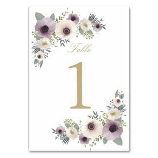 Anemone Bouquet Table Number Card