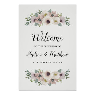 Anemone Bouquet Wedding Welcome Sign