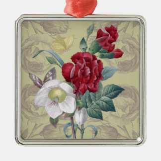 Anemone carnation Roses Metal Ornament