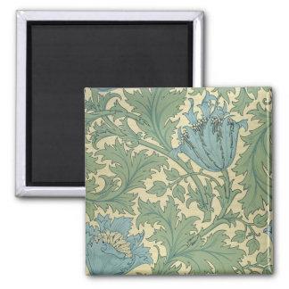 'Anemone' design (textile) 2 Inch Square Magnet