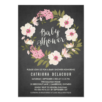 Anemone Floral Wreath Baby Shower Invitation