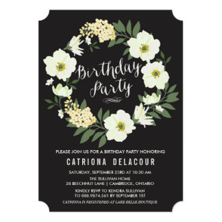 Anemone Floral Wreath Birthday Party Invitation