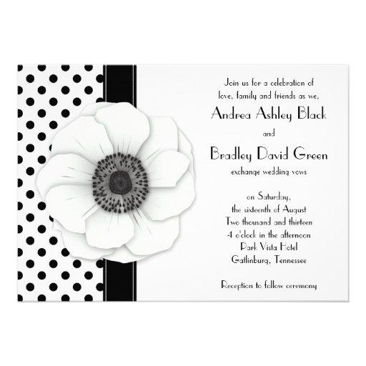 Anemone Flower Black White Polka Dot Wedding Custom Invitation
