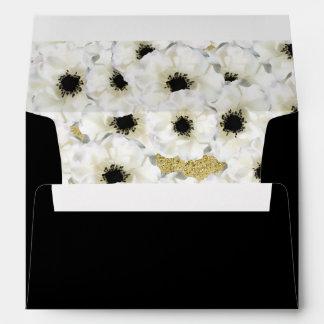 Anemone Flower gold glitter liner black invitation Envelope