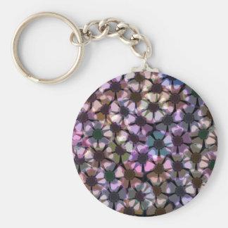 anemone flower pattern basic round button keychain