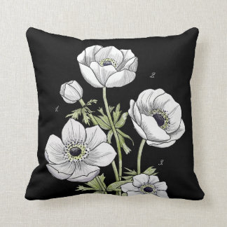 Anemone Flower | White against Black Throw Pillow