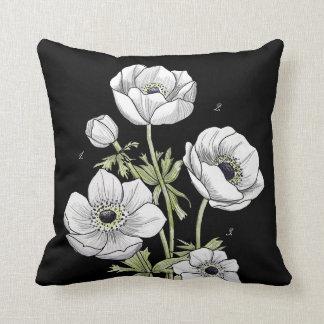 Anemone Flower | White against Black Throw Pillow