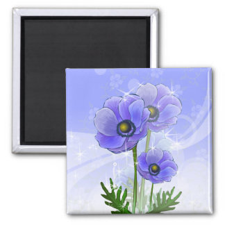 Anemone Flowers 2 Inch Square Magnet