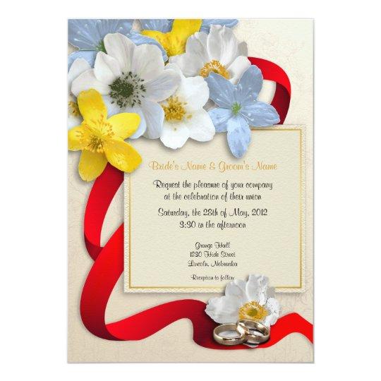 Anemone Flowers Wedding Invite - 6B