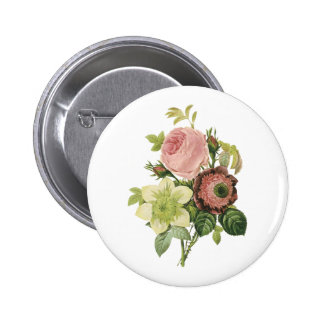 anemone, rose, clematis by Redouté Pinback Buttons