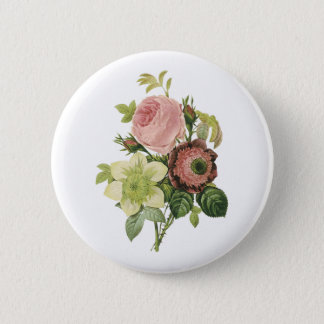 anemone, rose, clematis by Redouté Pinback Button