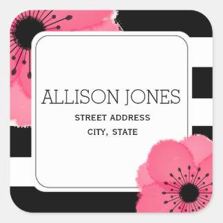 Anemone + Stripes Address Sticker