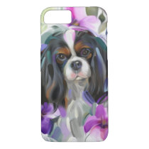 'Anemone' Tricolor cavalier dog art phone case