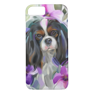 'Anemone' Tricolor cavalier dog art phone case