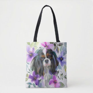 'Anemone' Tricolor cavalier dog art tote bag