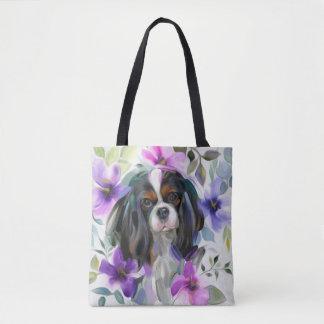 'Anemone' Tricolor cavalier dog art tote bag
