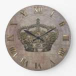 Anémoneathe  Crown Large Clock at Zazzle