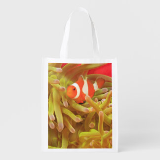 anemonefish on giant indo pacific sea anemone, reusable grocery bag