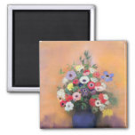 Anemones and lilac in a Blue Vase, after 1912 2 Inch Square Magnet