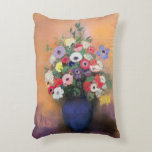 Anemones and lilac in a Blue Vase, after 1912 Decorative Pillow