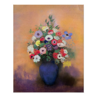 Anemones and lilac in a Blue Vase, after 1912 Poster