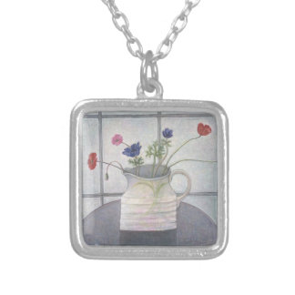 Anemones and Poppies 2008 jug flowers still Silver Plated Necklace