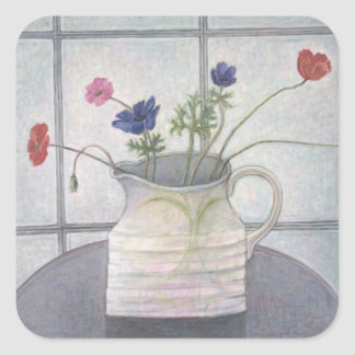 Anemones and Poppies 2008 jug flowers still Square Sticker