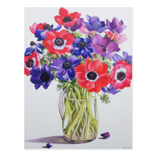 Anemones in a glass jug 2007 postcard