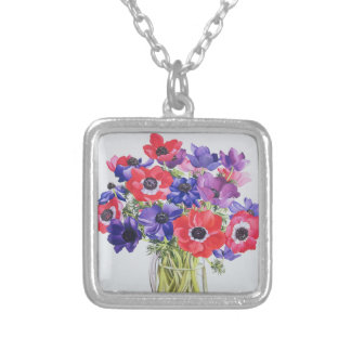 Anemones in a glass jug 2007 silver plated necklace