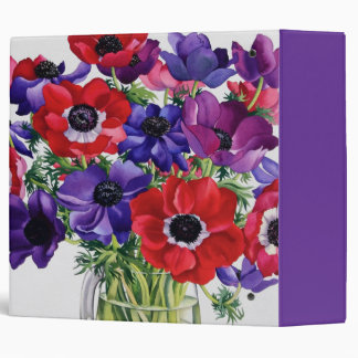 Anemones in a Glass Jug 3 Ring Binder