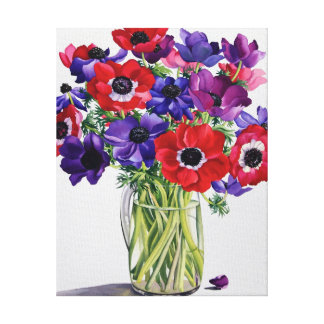 Anemones in a Glass Jug Canvas Print