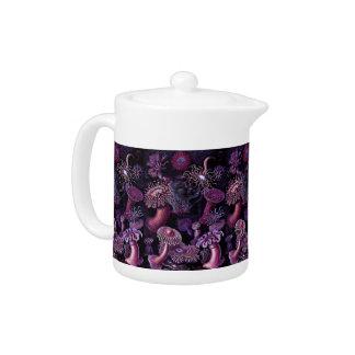 Anemones in Dark Purple Teapot