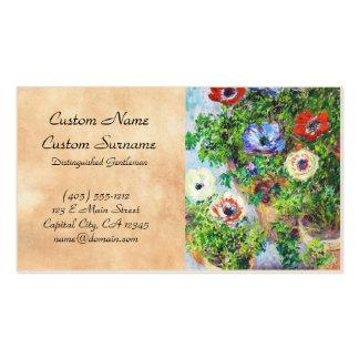 Anemones in Pot Claude Monet flower paint Business Card Template