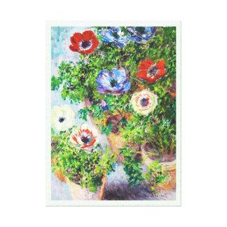 Anemones in Pot Claude Monet flower paint Gallery Wrap Canvas