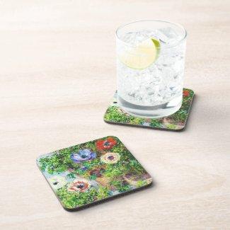 Anemones in Pot Claude Monet flower paint Beverage Coasters