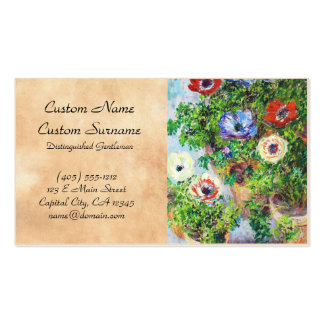 Anemones in Pot Claude Monet flower paint Double-Sided Standard Business Cards (Pack Of 100)
