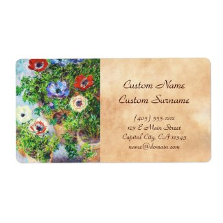 Anemones in Pot Claude Monet flower paint Custom Shipping Labels