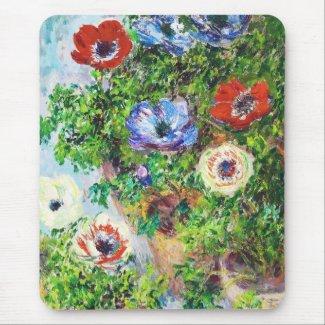 Anemones in Pot Claude Monet flower paint Mouse Pads