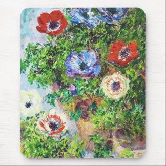 Anemones in Pot Claude Monet flower paint Mouse Pad