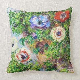 Anemones in Pot Claude Monet flower paint Throw Pillow