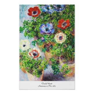Anemones in Pot Claude Monet flower paint Posters