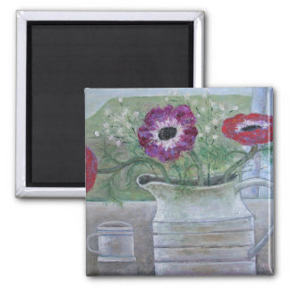 Anemones in White Jug 2013 Magnet