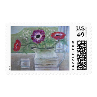 Anemones in White Jug 2013 Postage Stamp